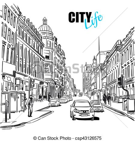City Street Clipart Black And White 10