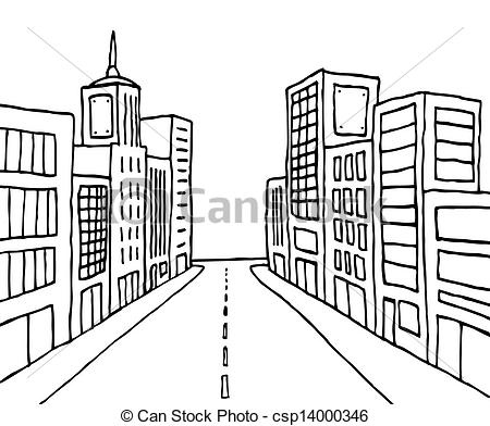 City Street Clipart Black And White 7