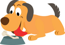 Funny dog chewing on bone clipart