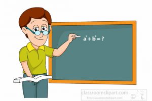 math teacher writing expression on classroom chalk board clipart