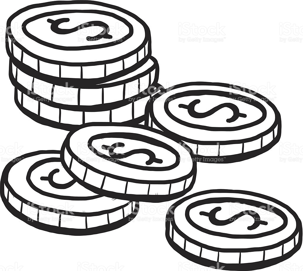 coin clip art black and white