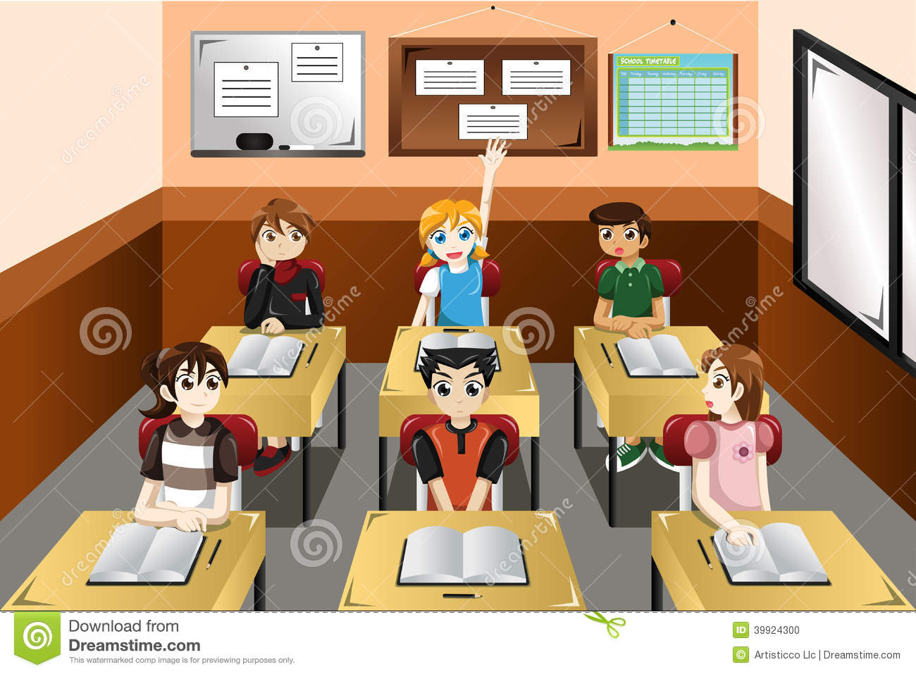 Classroom college. Students in clipart station