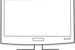 computer monitor clipart black and white 3