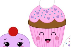 cute cupcakes clipart with faces 7