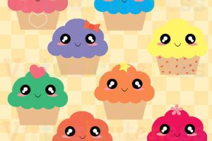 cute cupcakes clipart with faces 8