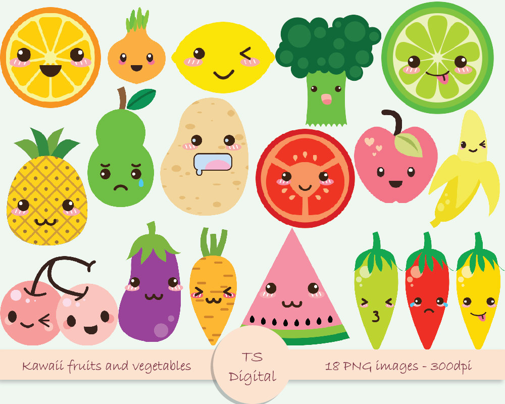 Cute Fruits And Vegetables Clipart 2 Clipart Station