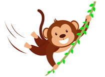 Cute monkey character swinging with branch clipart