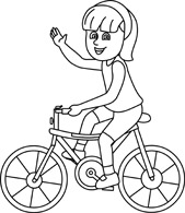 Outline of a girl on a bicycle