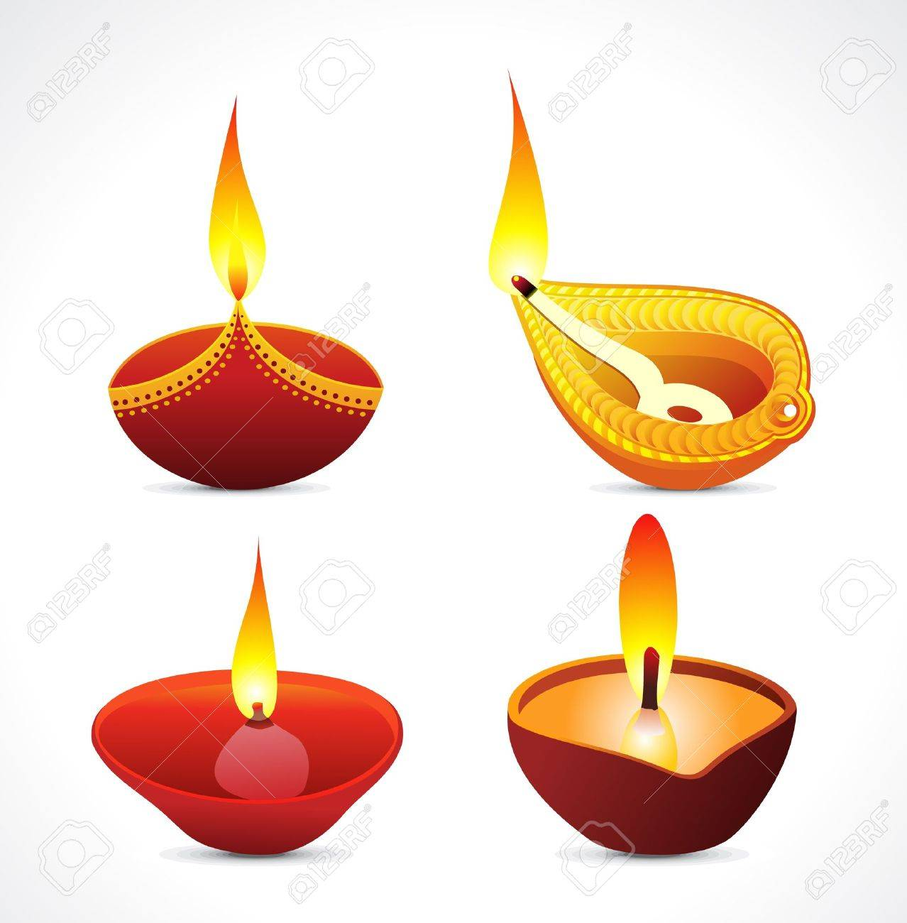 Deepavali Oil Lamp Clipart 5