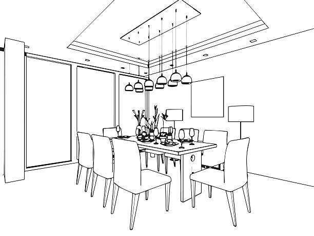 Dining room clipart black and white 1 » Clipart Station