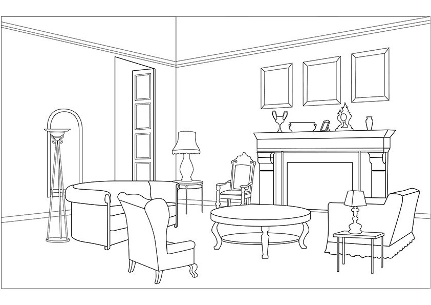Dining Room Clipart Black And White 2