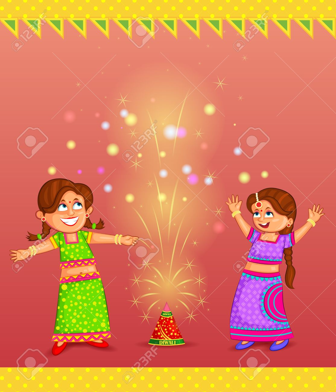 Kids enjoying firecracker celebrating Diwali | Clipart Station for Deepavali Celebration Clipart  570bof
