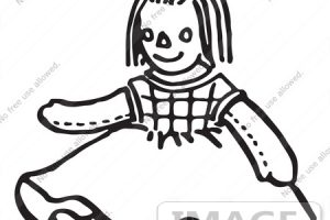 doll clipart black and white 5