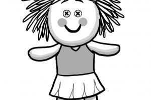 doll clipart black and white 7