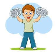 boy exercises with dumbell