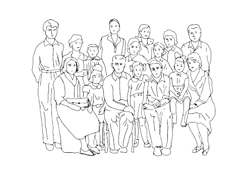 Extended Family Clipart Black And White 5