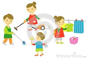 family cleaning together clipart 11