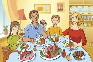 Family Eating Together Clipart 6
