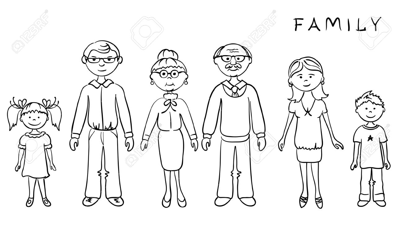 Family Portrait Clipart Black And White 4