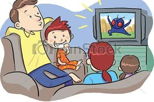 family watching tv clipart 8