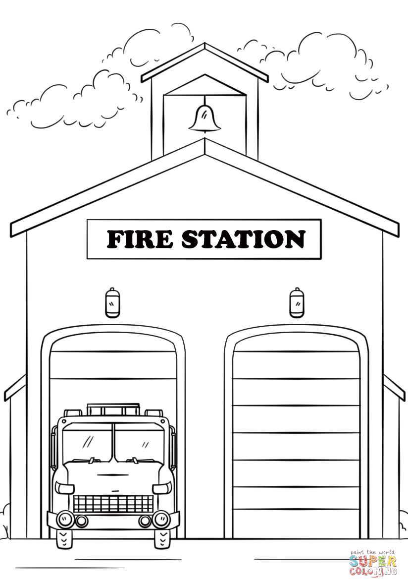 fire station clipart black and white 4 | Clipart Station