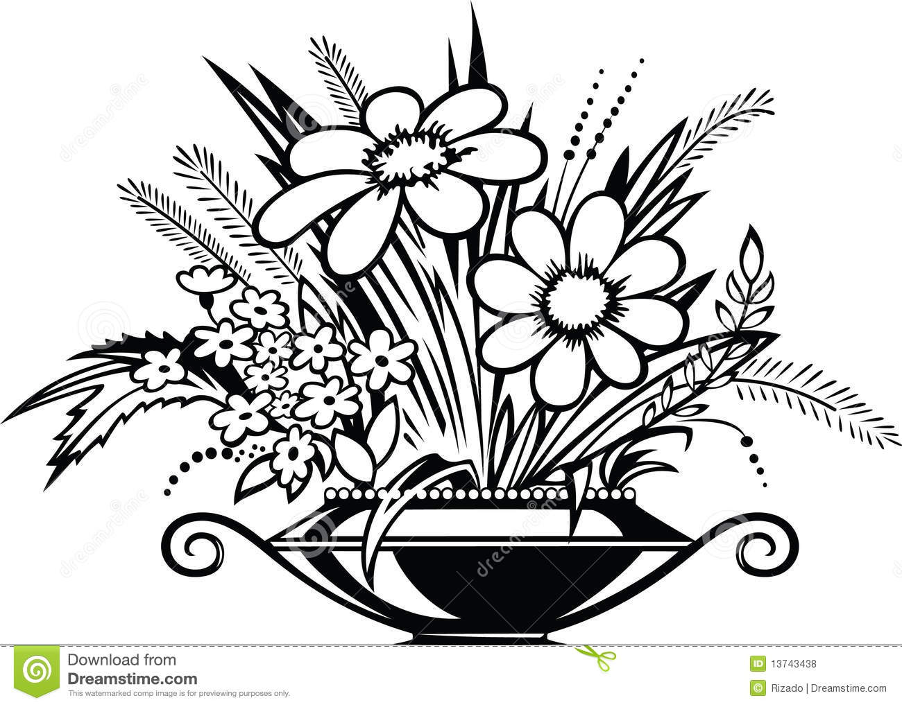 Flower Vase Clipart: Flower Vase Clipart Black And White 6 » Clipart Station