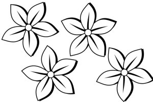 flowers black and white clipart 3