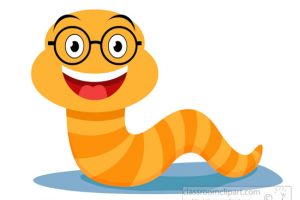 Smiling worm wearing glasses clipart