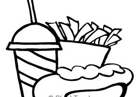 french fries clipart black and white 10