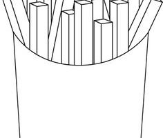 french fries clipart black and white 11
