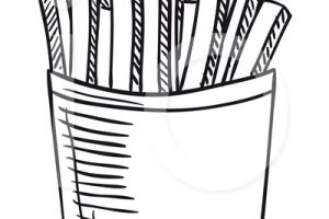 french fries clipart black and white 3