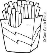 french fries clipart black and white 6