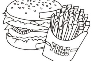 french fries clipart black and white 7