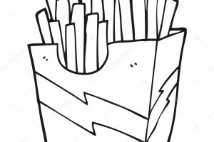 french fries clipart black and white 8