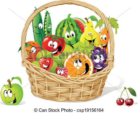 Fruits and vegetables basket clipart 1 » Clipart Station