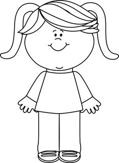 girl black and white clipart 6   Clipart Station