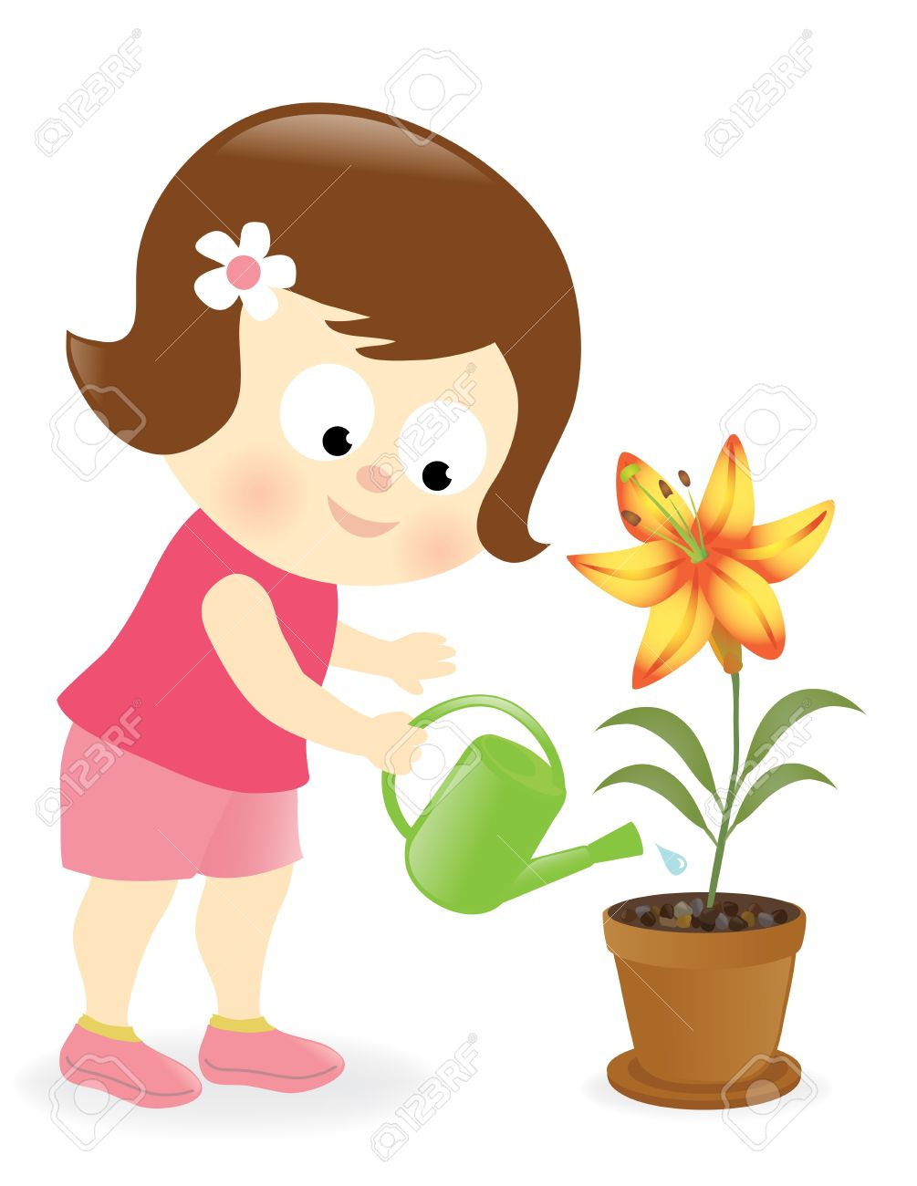 Girl watering plants clipart 5 » Clipart Station