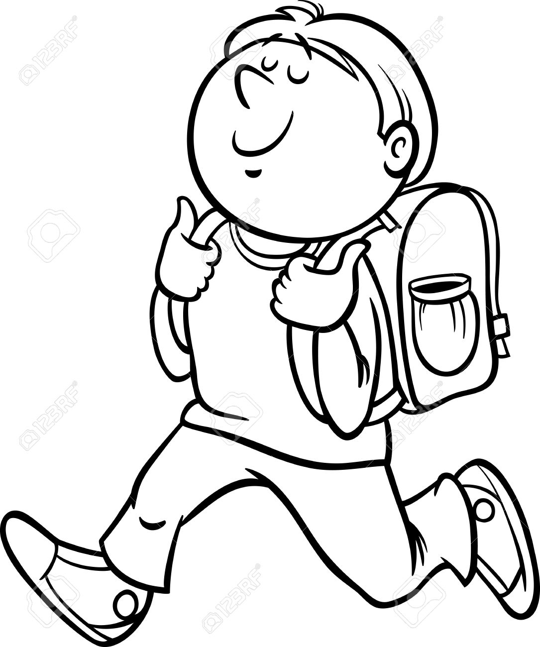 Boy Student Clipart Black And White
