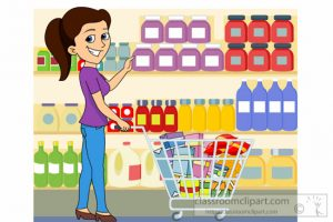 lady shopping at grocery store clipart