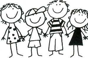 group of friends clipart black and white 5