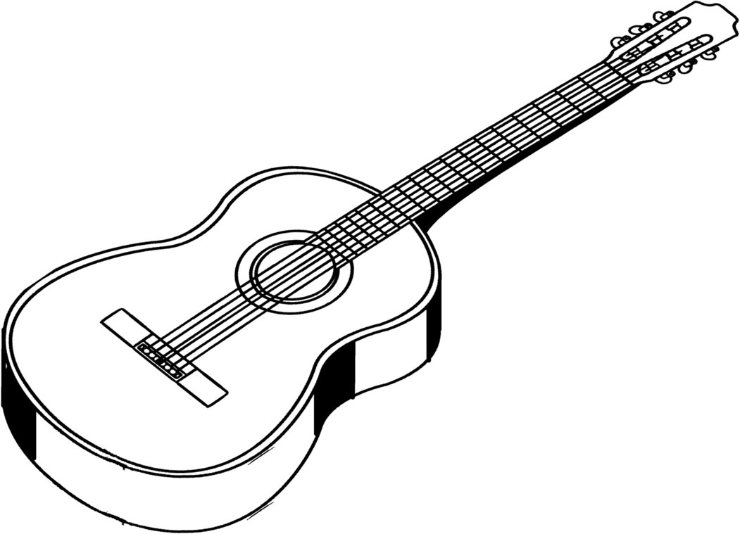 Guitar Clipart Black And White 4