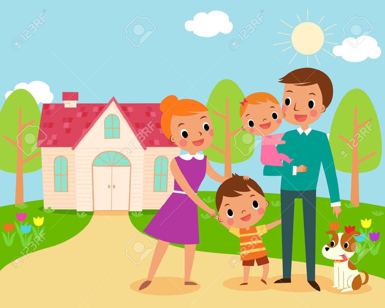 Happy family at home clipart 1 » Clipart Station