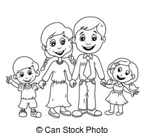 Happy family clipart black and white 9 » Clipart Station