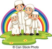 happy muslim family clipart