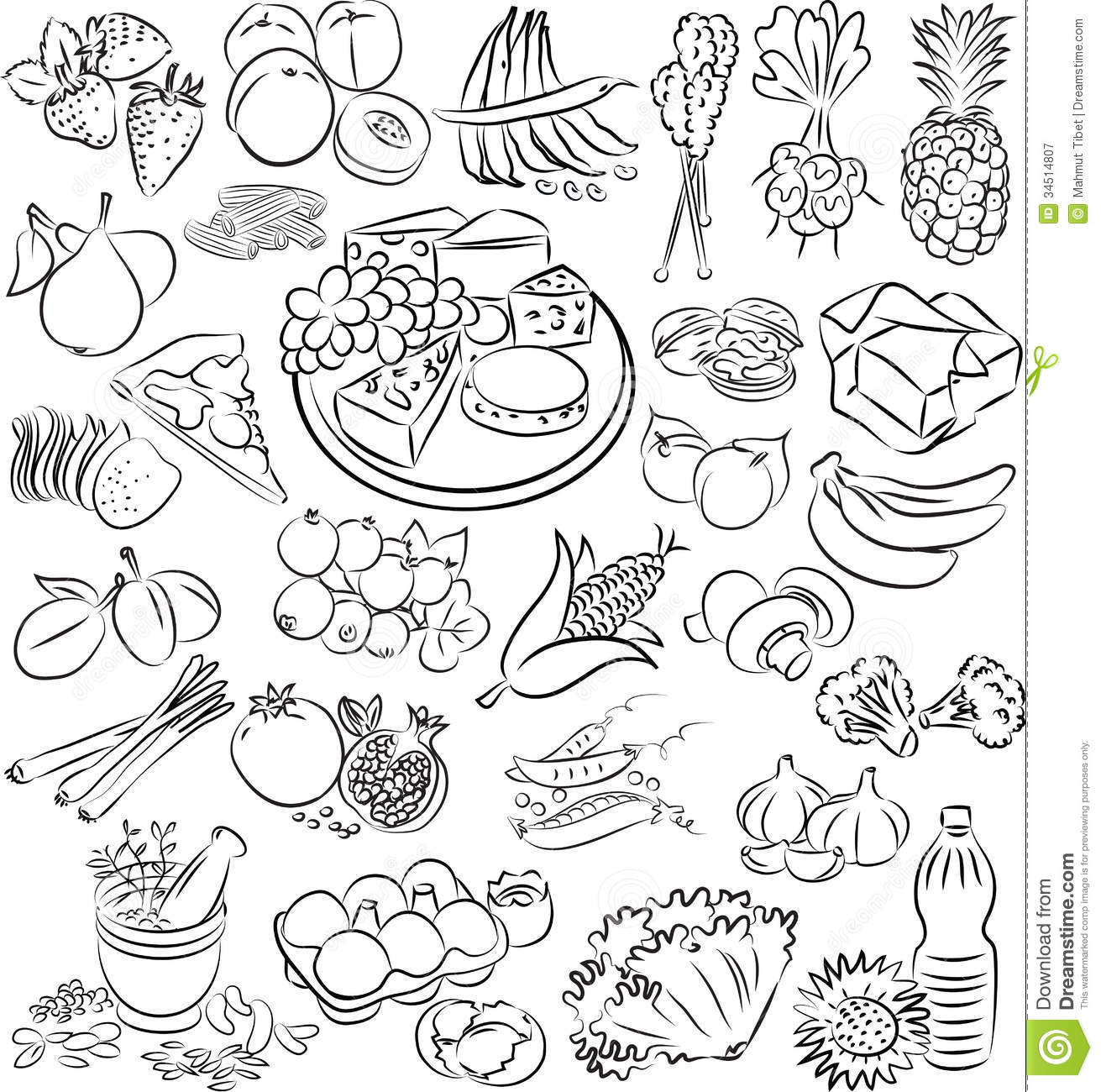Healthy food clipart black and white 4 » Clipart Station