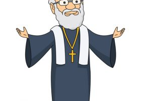 priest with arms stretched out clipart