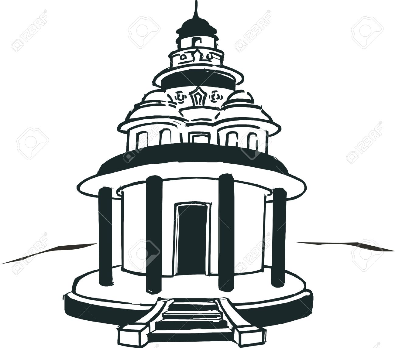 Hindu Temple Clipart Black And White 6 Clipart Station