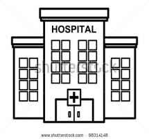 hospital building clipart black and white 2