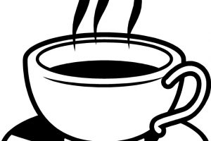 hot coffee clipart black and white 1