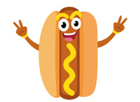 cartoon hot dog character with mustard clipart